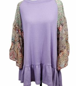 Umgee Waffle Knit Top Floral Paisley Bell Sleeve